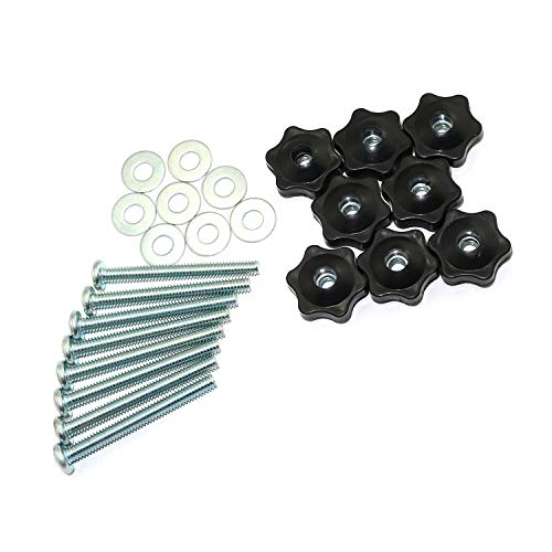 RuiLing 8 Set T-Track Knobs Kit Hex Head Manual Nut with Full Thread Outer Bolts and Washers
