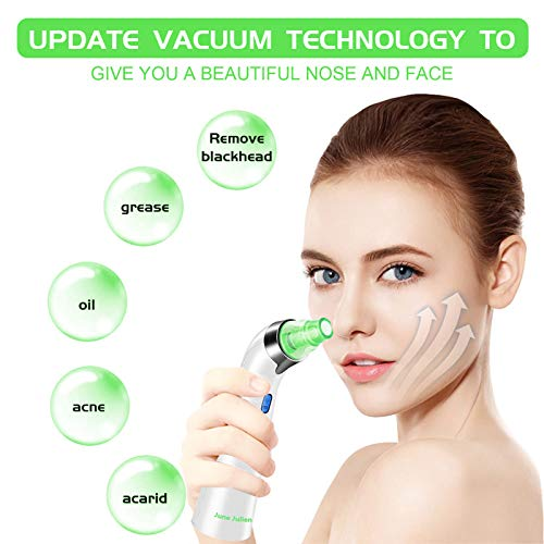 Blackhead Remover Vacuum - June Julien Facial Pore Cleanser Electric Acne Comedone Extractor Kit USB Rechargeable Blackhead Suction Tool with LED Display for Facial Skin(Green)