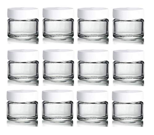 Avalon 15ml Clear Glass Jar with White Lid ~ Pack of 12 ~ Refillable, Reusable ~ Perfect for Moisturisers, Small Beads, Grooming Products, Face and Body Balms, and More