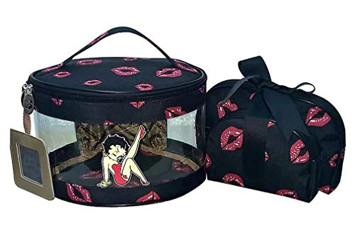 Betty Boop Makeup Bag 3 Pieces Set (Black), Medium