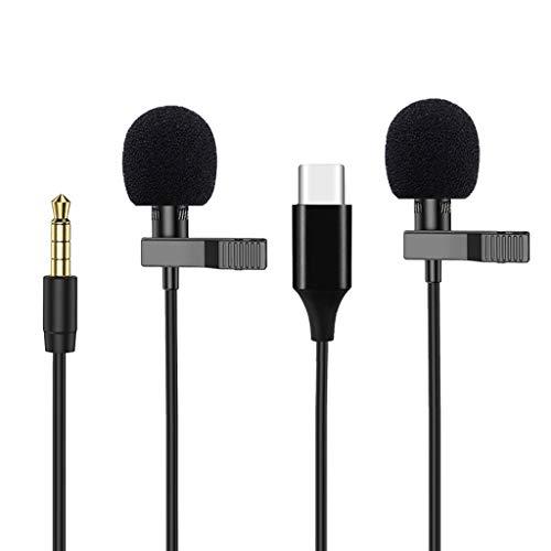 N/A. Mini altavoz profesional USB tipo C de 3,5 mm con micrófono lavalier, cuello omnidireccional con solapa de clip para teléfonos inteligentes iPhone An-droid