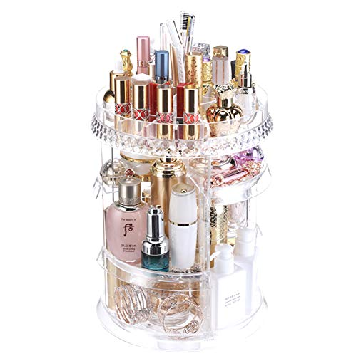 MRG 化粧品収納ボックス メイクボックス コスメ収納 コスメラック 360° 回転 透明 引き出し付き 化粧品 収納 ラック ケース 指輪 ピアス イアリング アクセサリー 小物入れ 透明 (クリア)