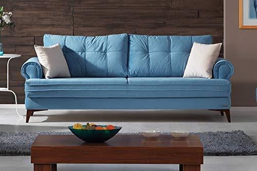 Schlafsofa Kippsofa Sofa Samt mit Schlaffunktion Klappsofa Bettfunktion mit Bettkasten Couchgarnitur Couch Sofagarnitur - Step Blue