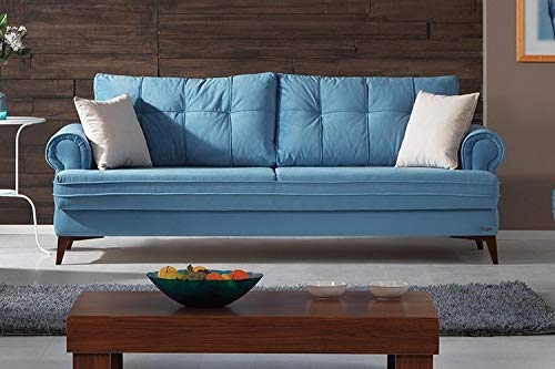Schlafsofa Kippsofa Sofa Samt mit Schlaffunktion Klappsofa Bettfunktion mit Bettkasten Couchgarnitur Couch Sofagarnitur - Step Blue