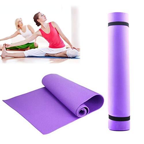 AWFAND - Esterilla de yoga de 6 mm extra gruesa con correa de transporte, alfombrilla de gimnasia plegable, antideslizante, duradera y ligera para ejercicios en casa, gimnasio, ejercicio, pilates