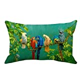 Fukeen Watercolor Bird Decorative Pillow Covers Colorful Parrot Long Throw Pillow Case Cushion Cover Branch Green Leaves Decor Home Sofa Waist Lumbar Pillow Protectors Rectangle 12x20 Inches