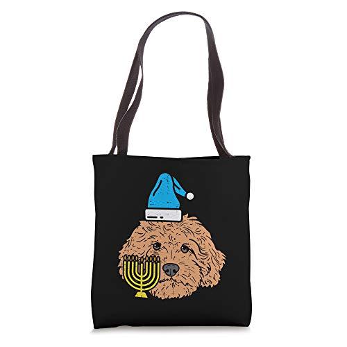 Goldendoodle Menorah Jewish Animal Pet Dog Hanukkah Gift Tote Bag