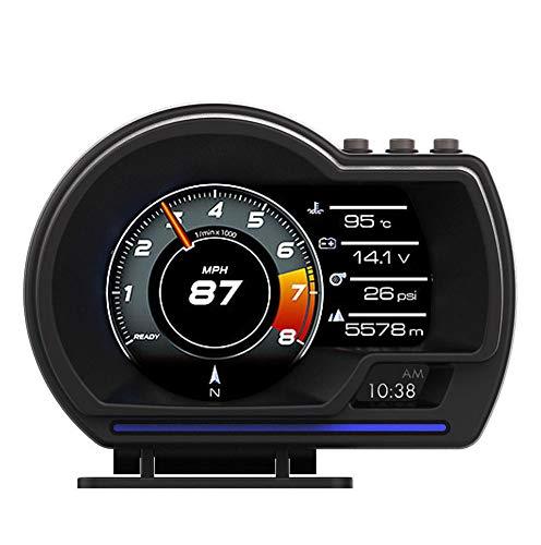 Porfeet OBD GPS Smart Gauge, Universal Auto HUD OBD + GPS Head-up-Display Intelligentes LCD-Instrument Mit Einstellbarer Halterung Alarmleuchte Fehlercode Löschen Tachometer