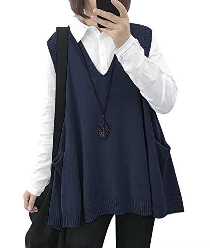 YESNO WM9 Women Casual Cute Sweater Vest Loose Swing Hemline/Pockets (M, WM9 Black) (M, WM9 Navy Blue)