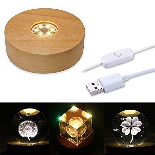 CDIYTOOL Base de luz LED de madera, redonda con luz LED, placa...