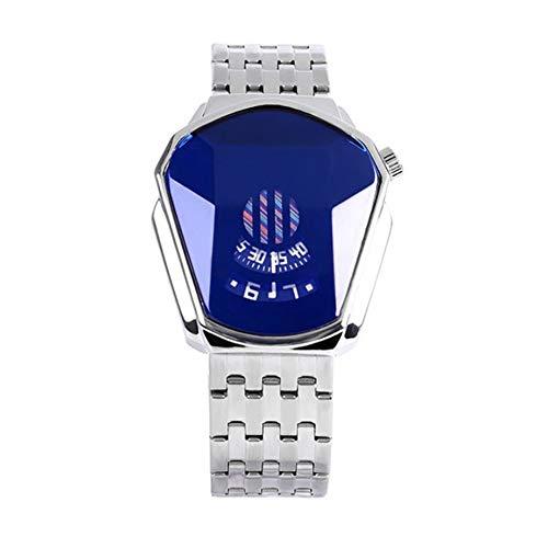 Aprimay Reloj de cuarzo de estilo diamante, resistente al agua, correa de acero, reloj de cuarzo para hombres y mujeres