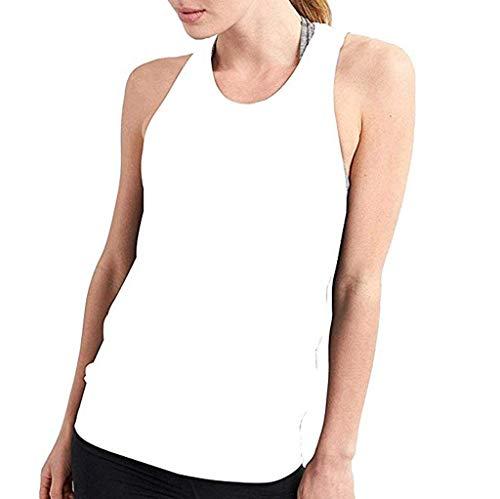 TOPKEAL - Camiseta de Tirantes para Mujer, Sexy, Espalda Abierta, para Yoga, Entrenamiento, para Verano, Elegante Blanco S