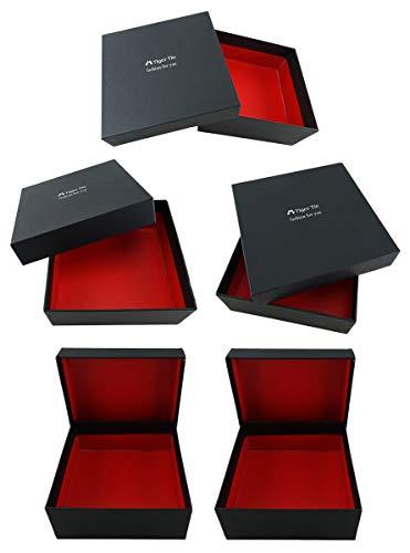 TigerTie - 5 Stk. Geschenkbox - Aufbewahrungsbox in schwarz, innen rot