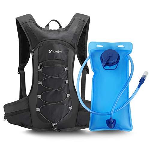 LINGSFIRE Mochila de hidratación de 2L con bolsa de bicicleta de vejiga de hidratación para correr al aire libre Ciclismo Senderismo , Mochila de agua con sistema de hidratación para hombresy mujeres