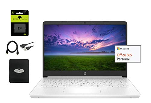 """2021 HP Stream 14"""" HD Laptop Light-Weight, Intel N4020 (Up tp 2.8GHz), 4GB RAM, 64GB eMMC, 1 Year Office 365, Webcam, HDMI, Google Classroom or Zoom Compatible, w/64GB SD Card, Accessories"""