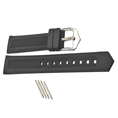 MagiDeal 1 Stück Uhren Armband aus Silikon, Ersatz Uhrenarmband mit Federleiste - Schwarz - Schwarz 19mm