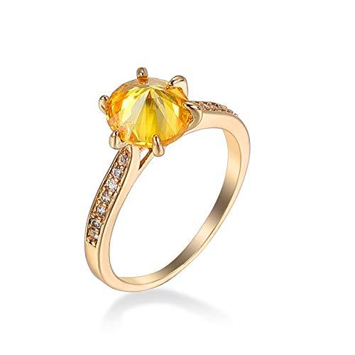 Gualiy Anillos de boda para mujer, chapados en plata, seis puntas con incrustaciones de diamantes de imitación para mujer, anillo de compromiso, Cubic Zirconia,