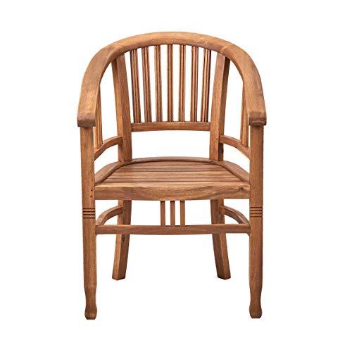 BUTLERS Acacia Springs Stuhl aus FSC-Akazienholz Natur - Holzstuhl mit Armlehnen, Gartensessel,...