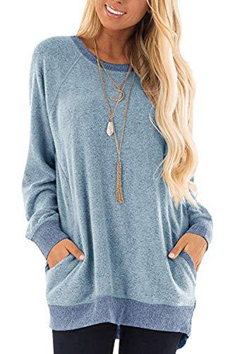 Damen Langarmshirt Casual Sweatshirt Farbblock T-Shirt Rundhals Blusen Top Pullover Oberteile mit Taschen (252-Hellblau, Large)