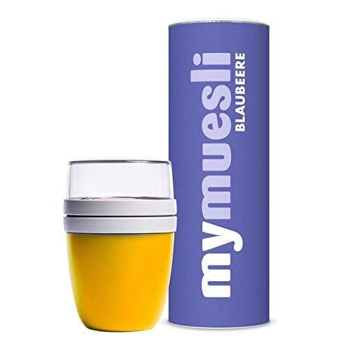 mymuesli 2Go Müslibecher Probierpaket - 2Go Becher gelb (300 ml & 500 ml) & mymuesli Blaubeer Bio-Müsli (575g) - 100% Bio-Zutaten