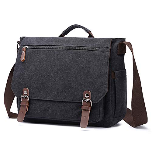 Bolso de hombro de la escuela del bolso de la lona del vintage para 13.3-15 pulgadas Laptop Business Maletín