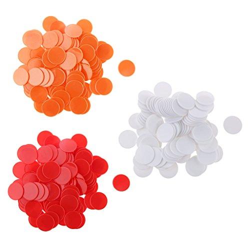perfeclan 300 Piezas de Fichas de Póker de Casino 32mm Fichas de Bingo Tokens de Casino para Juegos de Naipes - Blanco, Rojo, Naranja