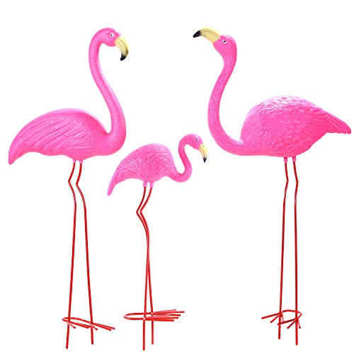 """Ohuhu Family Flamingo Yard Ornaments, Set of 3 (32"""", 31"""", 19"""") Bright Pink Flamingos Family with Metal Feet Stakes for Garden/Yard/Patio Decoration, Great Christmas Decor Outdoor Gift Present Idea"""