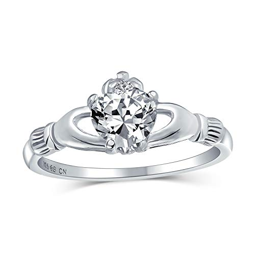 Bling Jewelry Bling joyería celta irlandés Sterling Silver Heart CZ Claddagh Ring