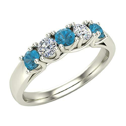 Glitz Design Mujer Niños Hombre Unisex oro 14 quilates (585) oro blanco 14 quilates (585) round-brilliant-shape Blue IJ Diamante azul