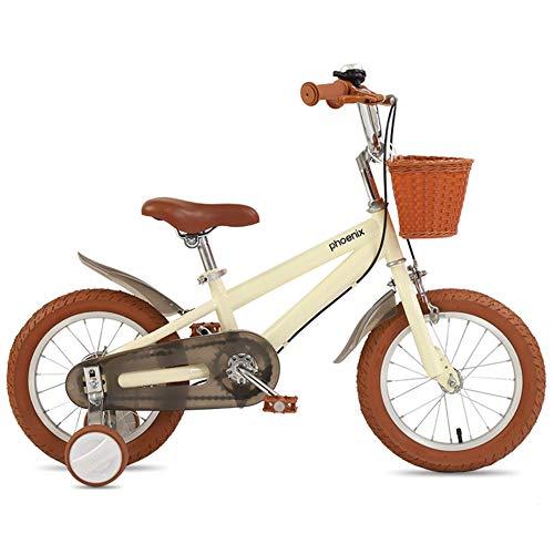 WSDSB Bicicleta Infantil 3-9 Años, Niños Niñas Bicicletas con 2 Frenos y Ruedines de Entrenamiento Desmontables, Altura Ajustable