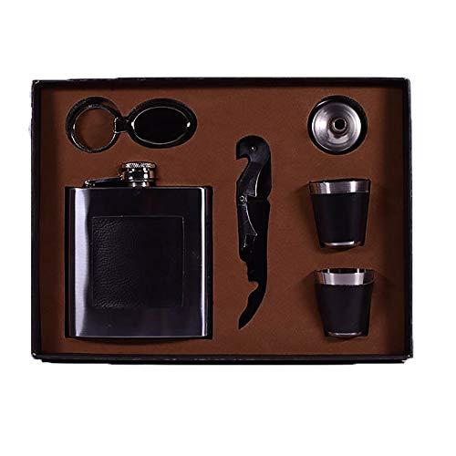 Herren Gentleman Geschenkset Box mit 170 ml Flachmann Schlüsselanhänger Trichter 2 Tassen Flaschenöffner