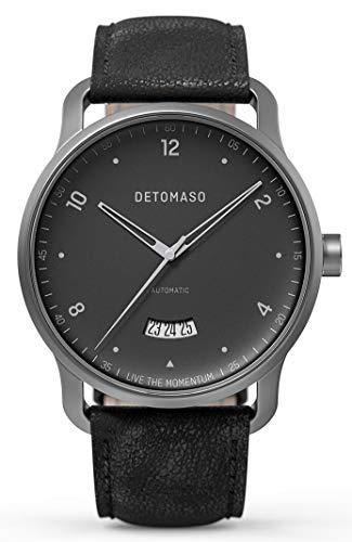 DETOMASO VIAGGIO Automatic Grey Herren-Armbanduhr Analog Quarz Italienisches Lederarmband Schwarz