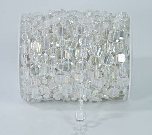 ALL in ONE 50ft Acrylic Crystal Beads by The Roll DIY Craft Garland Centerpiece Wedding Party Events Decoration (Rectangle)