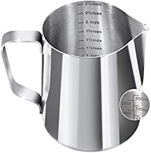 Newness Milk Frothing Pitcher, 600 ML Milk Jug with Scale [Cup, ML, Ounce], Steaming Pitchers 304 Stainless Steel Milk Pitcher Cup Barista Coffee Latte Jug, Cup for Cappuccino Espresso Cafe Maker Art