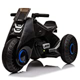 VALUE BOX Kids Ride on Motorcycle, 6V/4.5Ah Battery 3 Wheels Motorbike Tricycle Toys w/ Led Lights, MP3 Player, Forward/Stop/Backward Button, Power and Pedal Switch for Children Boys & Girls, Black