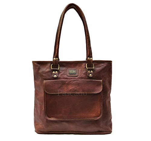 PASCADO leather tote bag purse satchel shoulder bag with zipper vintage handbags for women brown handmade