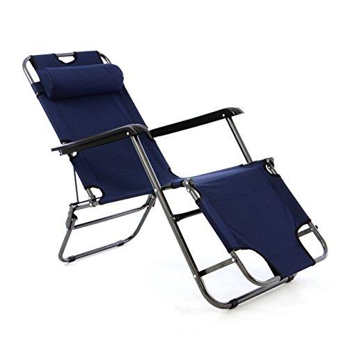 Liegestuhl Campingstuhl mit Liegefunktion Sonnenliege mit Kopfpolster Strandliege klappbar für Camping Freizeit Garten Strand Navy-blau orange grün Tragfähigkeit bis 100kg Farbe wählbar (Blau)