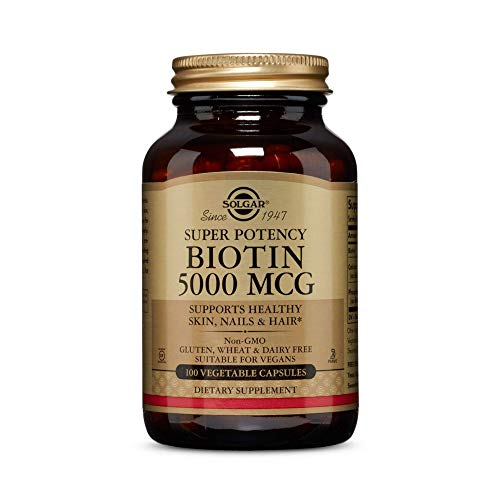 Solgar Biotin 5000 mcg, 100 Veg Caps - Promote Healthy Skin, Nails & Hair - Supports Energy Production, Protein, Carbohydrate & Fat Metabolism - Vitamin B - Non GMO, Vegan, Gluten Free - 100 Servings