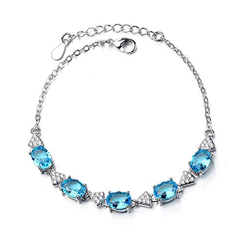 XBJ Pulsera para Mujer, Pulsera de Piedra de topacio Esmeralda Azul Celeste, Pulsera chapada en rodio