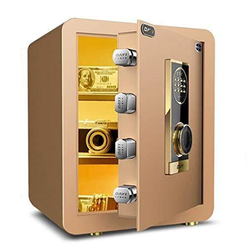 Thuis Keypad Safe, Wall of kabinet Verankering Ontwerp Brandveilige Veiligheid van het staal Kluis met digitale elektronisch slot voor kantoor aan huis hotel,Gold