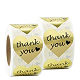 Thank You Stickers, 2 Rolls Gold Foil Heart Shape Stickers for Gift, Wedding wedding invitations May, 2021