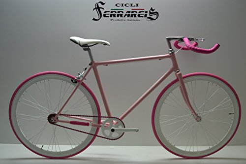 Cicli Ferrareis Fixed 28 Donna Bike Single Speed Bici Scatto Fisso Rosa e Fucsia Personalizzabile