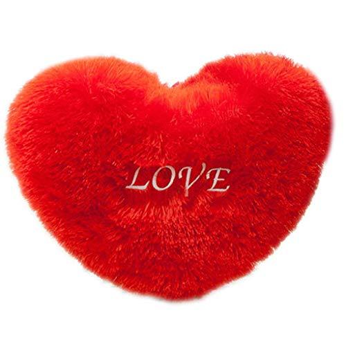 Kcnsieou Romántico atractivo rojo corazón forma de tiro de almohada letras bordado largo mullido felpa suave cojín cojín cojín decoración del hogar San Valentín regalo de boda 7 tamaños