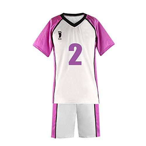YZJYB Haikyuu Hombres Disfraz Club N. 6 Camiseta De Manga Corta para Cosplay Chndales De La Escuela Secundaria Shiratorizawa High School Volleyball Uniforme Sportswear,Small