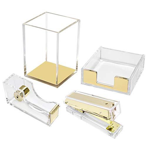 MultiBey Office Supplies Set for Desk, Clear Acrylic Tape Dispenser Stapler Paper Clips Sticky Note Memo Holder Pen Holder Pencil Cup (Gold, 4 pcs Set)