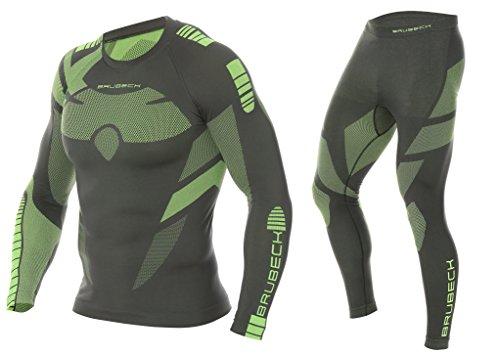 BRUBECK Dry Funktionsunterwäsche Herren | Set Hose + Shirt | Funktionswäsche | Skiunterwäsche | Motorradunterwäsche | Atmungsaktiv | LE11860 + LS13080 M, Graphite/Lime