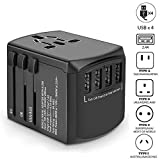 Universal Travel Adapter, International Power Adapter, Worldwide Plug Adaptor with 4 USB Ports, High Speed 4.5A Wall Charger, All in One AC Socket for USA UK AUS Europe Asia Cell Phone Laptop