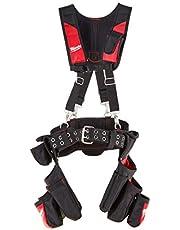 Milwaukee 48 22 8120 24 Harnas voor bouwondernemers, met zakken, werkriem, met vering, rood/zwart
