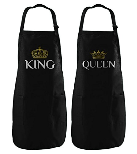 King & Queen Matching Couple Set Gift for Couples His & Hers Cooking Chef Apron King Black One Size/Queen Black One Size