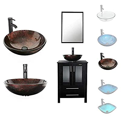 LUCKWIND Bathroom Vanity Vessel Sink Combo – 24 Cabinet Stand Mirror Artistic Glass Round Vessel Sink Faucet Drain ORB Single Storage Drawer (2 Door 2 Drawer Single - Espresso - Brown Glass Vessel)